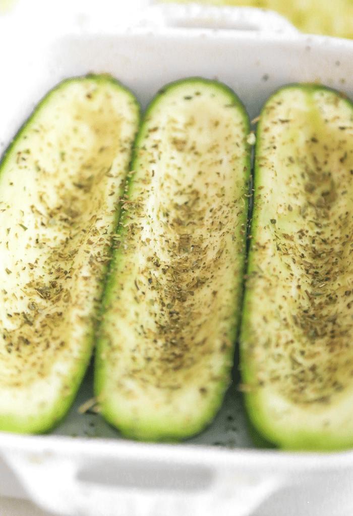 Seasoned sliced zucchini with Italian spice.