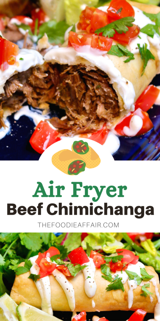 Easy air fryer beef chimichanga recipe takes a traditional dish and turns it healthier. You'll love the flavors and how easy this meal is to make.