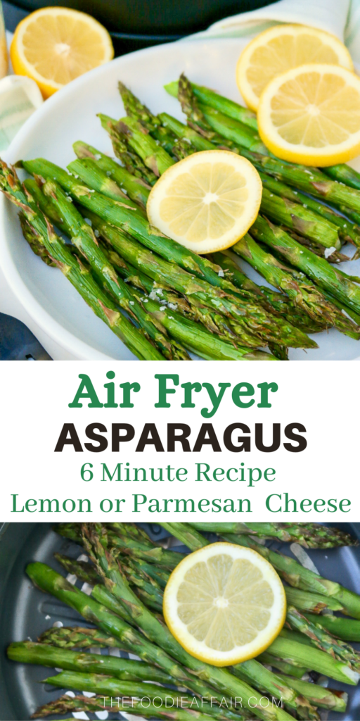 Air fryer asparagus made in 6 minutes. Top with fresh lemon or parmesan cheese. Healthy side dish for breakfast, lunch or dinner. #AirFryer #asparagus #SideDish