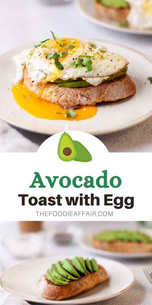 Slice of sourdough bread topped with avocado and sunny-side egg on a white plate ready to eat.
