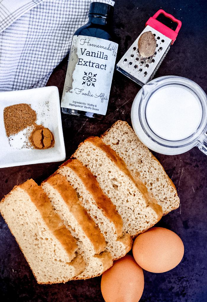Ingredients to make keto French toast.