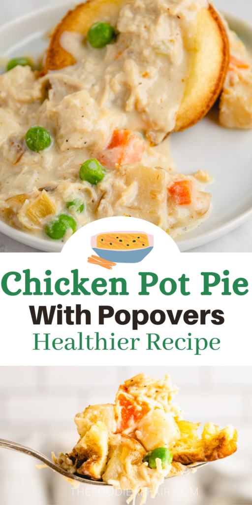 This chicken pot pie is pure comfort food you love, but the recipe is lightened up topping the chicken in a cream sauce over homemade popovers.