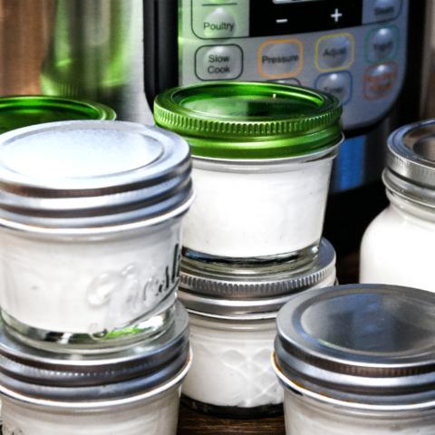 Small mason jars of homemade yogurt made in an Instant Pot