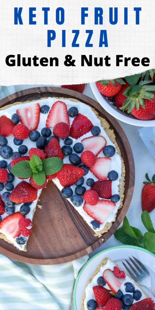 Fruit pizza with a gluten free cookie topped with a light fresh whipped cream topped with fresh fruit. #ketorecipe #lowcarb #dessertpizza
