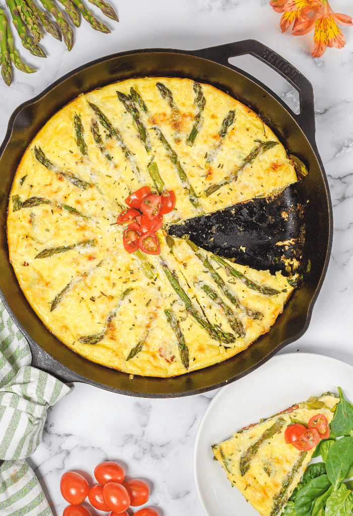 Top view of a frittata in a cast iron pan cooked and ready to be served.