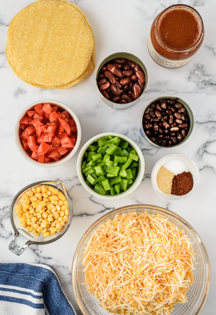 Ingredients to make vegetarian Mexican casserole.