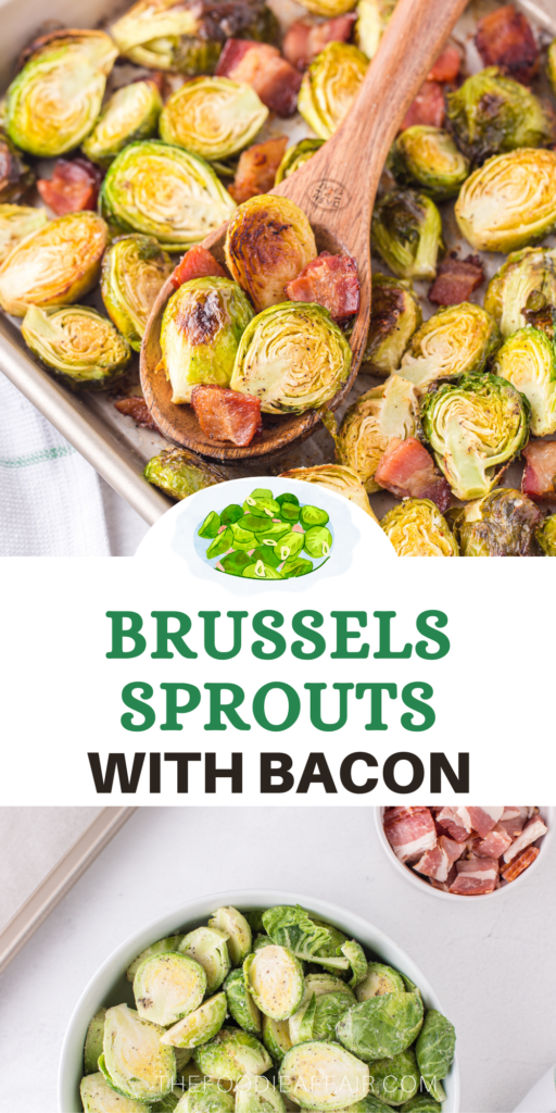 Oven roasted Brussels sprouts with bacon makes a delicious side dish or tasty light lunch. Perfect dish for low carb and keto diet followers. #KetoRecipe #SideDish #BrusselsSprouts #EasyRecipe
