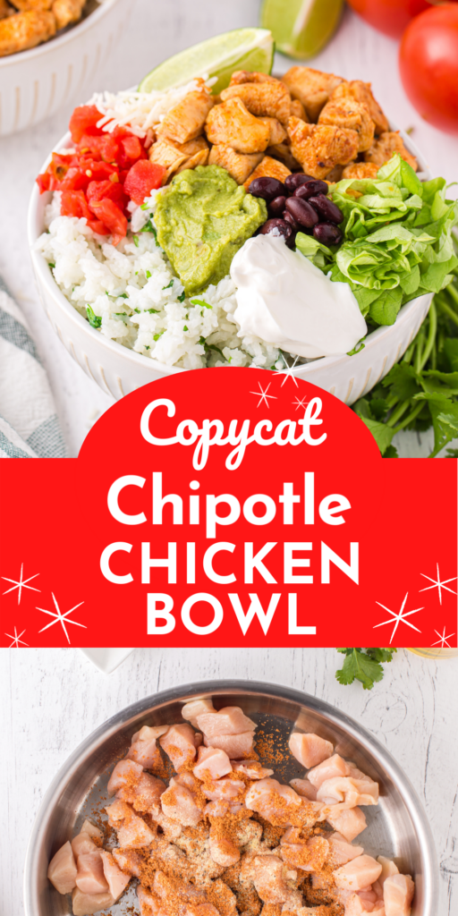 Copycat Chipotle chicken bowl with all your favorite ingredients including cilantro lime rice. Add extra guacamole! #chicken #mealprep #EasyDinner