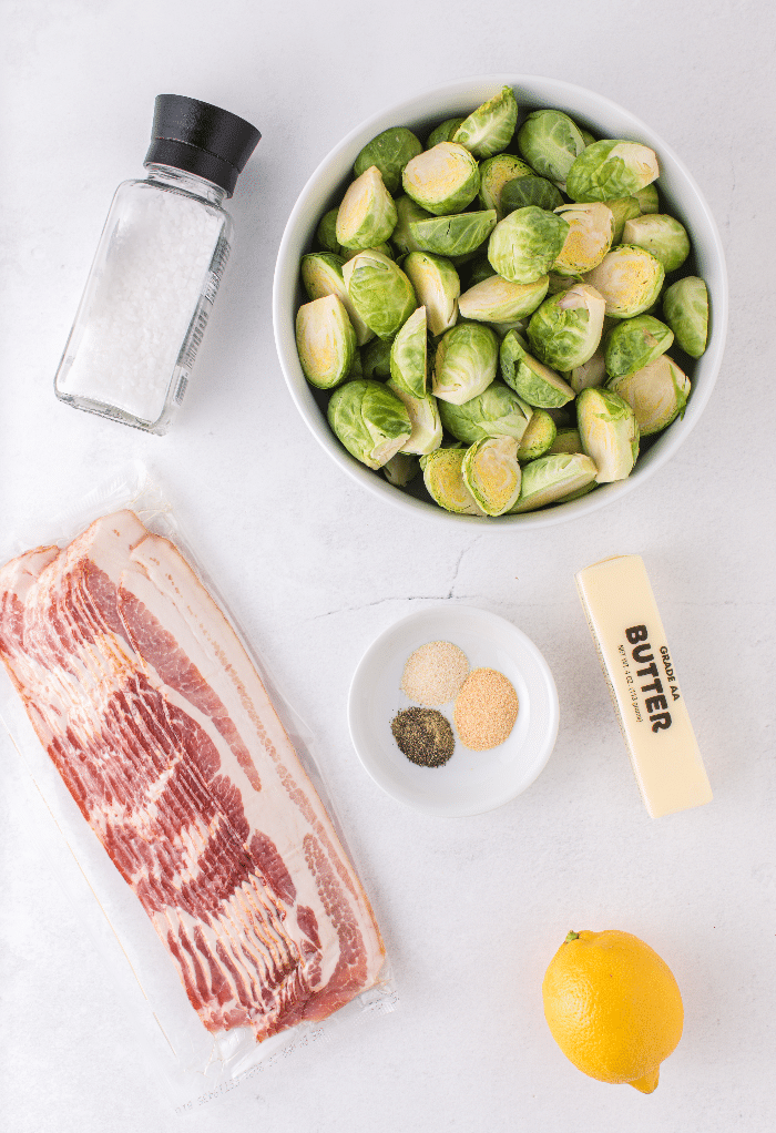 Top view of all ingredients to make keto Brussels sprouts.