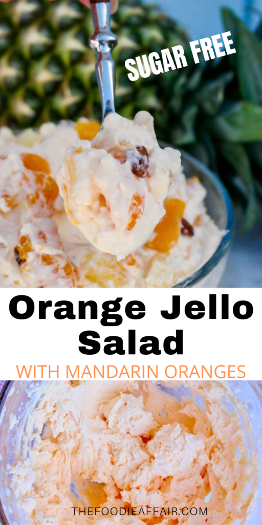 Orange jello salad made with fresh whipped cream and sugar free gelatin! Great side dish or dessert for low carb and keto diet followers! #sugarfree #dessert #easyrecipe #potluck