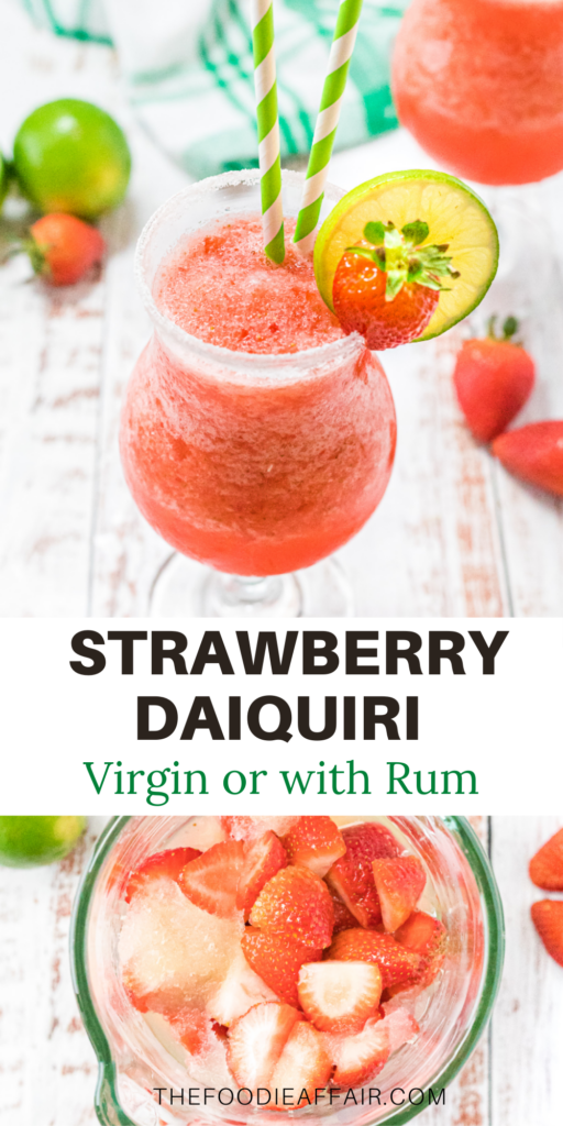 Virgin strawberry daiquiri with three ingredients. Refreshing and easy to make, but it you want a little rum, so ahead and turn this to an adult slushy! #beverage #virgin #daiquiri