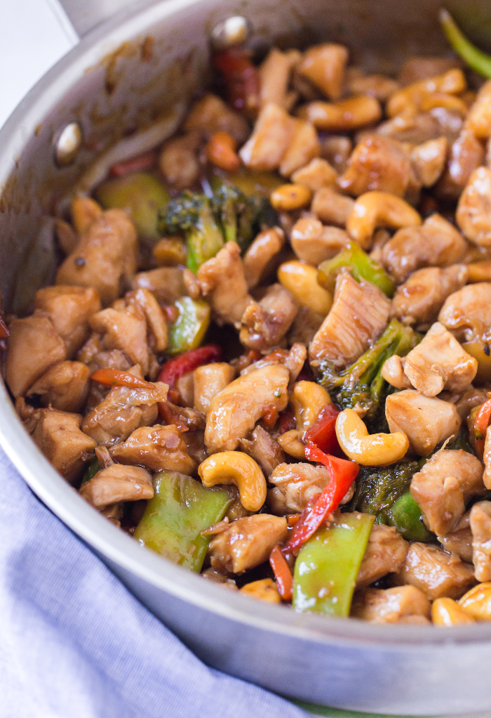 Skillet with cooked teriyaki chicken stir fry ready to serve.
