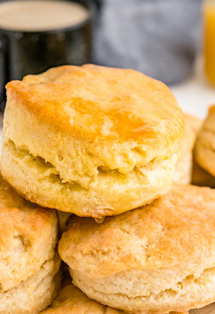 Fresh homemade buttermilk biscuits.