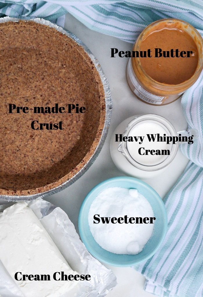 Ingredients needed to make a peanut butter pie.