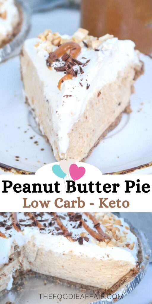 Creamy peanut butter pie with real whipped cream and made without granulated sugar keeping this low carb and keto friendly. #pie #dessert #nobake #keto #sugarfree