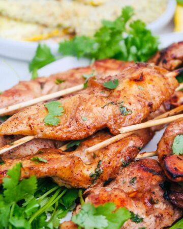 chicken skewers in chipotle marinade.