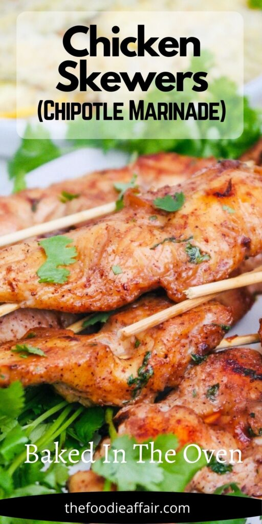Easy chicken skewers marinated in a flavorful chipotle adobo sauce is a quick and flavorful appetizer or main dish. #chickendinner #easyrecipe #ChickenSkewers