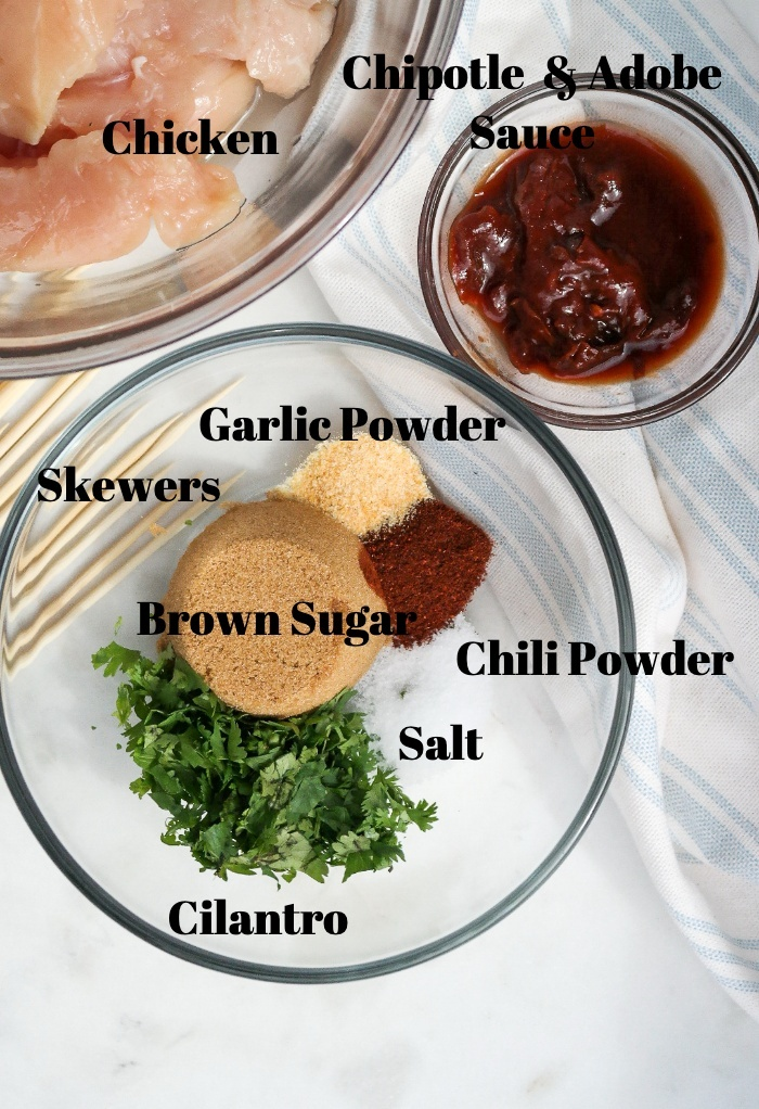 Ingredients for chipotle chicken marinade for chicken skewers.