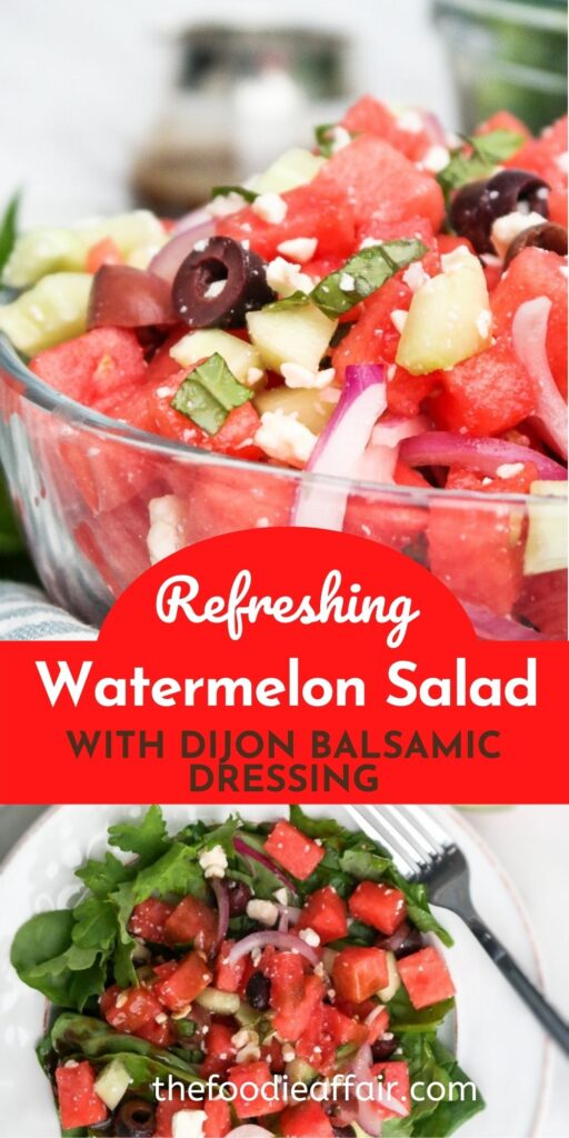 Refreshing watermelon salad over a bed of greens lightly dressed in homemade dijon balsamic salad dressing. #salad #watermelon #EasyRecipe