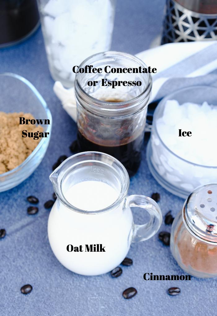 Ingredients to make brown sugar oat milk shaken espresso.