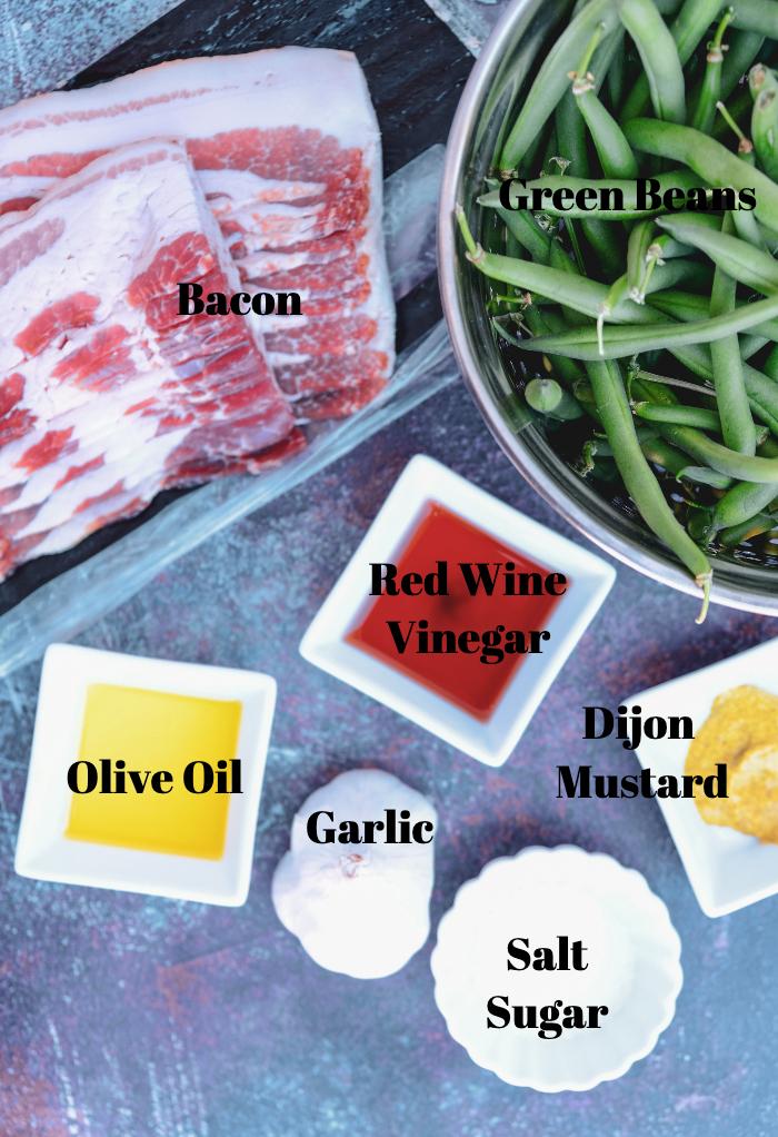 Ingredients to make bacon wrapped green bean bundles.