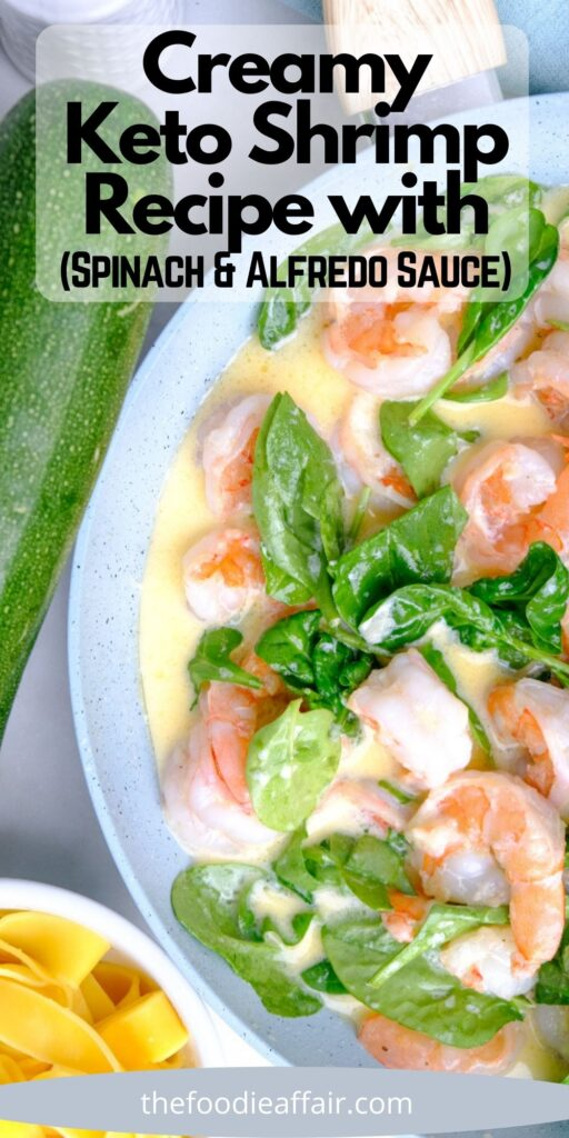 Creamy shrimp in a light alfredo sauce and spinach. This is a delicious main meal or serve as an appetizer. #KetoRecipe #DinnerIdea #LCHF #LowCarbRecipe