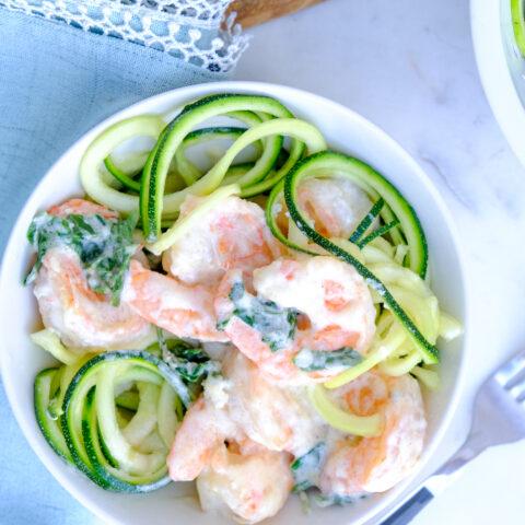 Keto shrimp over zucchini noodles.